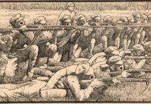 Soldater øver sig i skydning med gasmasker; bag dem ser en ikke-maskeret overordnet officer, ca. 1917. Tegner: Winsor McCay (1869–1934), American cartoonist, animator,film producer and comics artist. Public Domain.