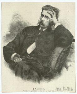 J. P. Jacobsen. ca. 1885. Træsnit fra Illustreret Tidende. (CC BY-NC-ND 4.0).
