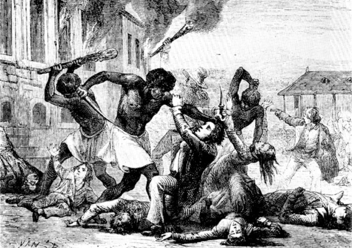 Slave rebellion before the independence in USA. Artist: Unknown. Public Domain