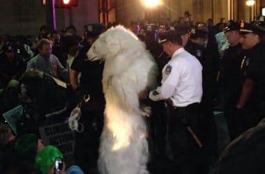 Her anholdes en isbjørn den 22. september på Wall Street til Flood Wall Street (NB det er altså en demonstant i isbjørne-kostume)