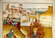Burning of Jan Hus at the stake. From Spiezer Chronik (1485) by Diebold Schilling the Older (c. 1445–1485), the author of several of the Swiss illustrated chronicles. Public Domain.