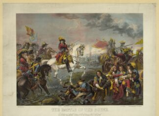 """The Battle of the Boyne. Date: unknown. Artist: unknown. """"William who is portrayed throughout Northern Ireland, on his horse, sword in hand, waving his hat at the Battle of the Boyne .. He became the symbol of the most backward, reactionary attitudes. The very word Orangeism comes from his title"""". (Source: Duncan Hallas: The Decisive Settlement (Socialist Worker Review, Issue 113, October 1988). Collection: Library of Congress, Washington, DC., USA. Public Domain."""