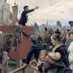 "An agitator. Louis Pio speaking at the ""Fælleden"" in Copenhagen. Oil on canvas painted 1899 by Erik Henningsen (1855–1930), Danish painter and illustrator. Collection: Metalskolen Jørlunde, Denmark. Public Domain."