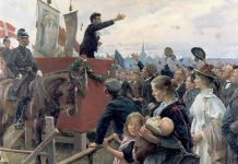 "An agitator. Louis Pio speaking at the ""Fælleden"" in Copenhagen. Oil on canvas painted 1899 by Erik Henningsen (1855–1930), Danish painter and illustrator. Collection: Metalskolen Jørlunde, Denmark. Public Domain."