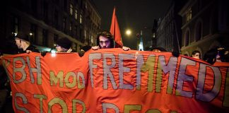 """""""Kbh. mod fremmedhad - Stop Pegida"""" - For og imod Pegida (19. januar 2015-demoer). Foto: af Mette Kramer Kristensen/Monsun. Se 5. januar nedenfor."""