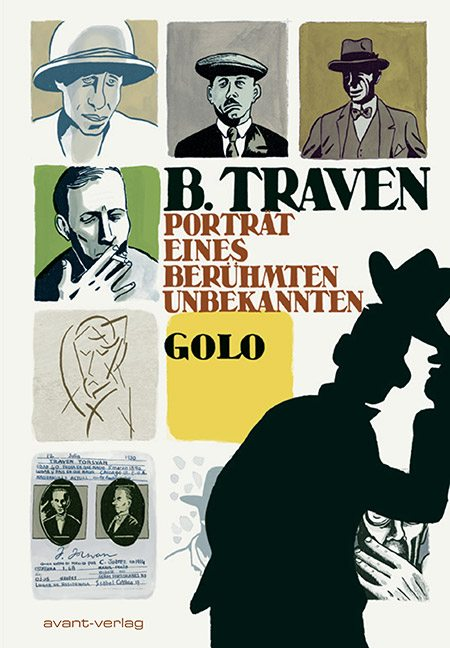 Illustration fra grafisk biografi. Golo: B. Traven Porträt eines berümte Unbekannten (2011) (Deutsche ex. Book also in English and Spanish).