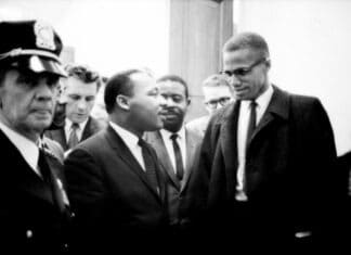 Martin Luther King, Jr. and Malcolm X meet before a press conference. Both men had come to hear the Senate debate on the Civil Rights Act of 1964. This was the only time the two men ever met; their meeting lasted only one minute.26 March 1964. Photo: Staff photographers of U.S. News & World Report. Collection: The Library of Congress, Washington D.C. No known copyright restrictions.
