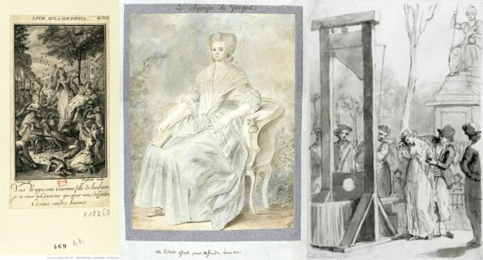 Collage of Olympe de Gouges. Left:Olympe de Gouges handing over her Declaration of the Rights of Women and Citizens to Marie-Antoinette. Print, Desrais, Paris, 1790. Engravet by C. Frussotte (1750-18 ..). Engraver; Claude-Louis Desrais (1746-1816). Illustrator. Public Domain. Middle: Marie Olympe de Gouges, widow Aubry (1748-1793). Olympe de Gouges seated on a Louis XV armchair, holding a book in her right hand, 1793. Medium watercolor over graphite on paper made by unknown artist. Collection: Louvre Museum). Public Domain. Right: Execution of Marie Gouze on the scaffold. 'Olympe de Gouges' was the pseudonym used by Marie Gouze, who was a French writer, playwright, pamphleteer, and political philosopher, and who in 1793 was arrested and summarily tried for having defended the Girondists, then guillotined to death. Artist: Mettais? Public Domain.