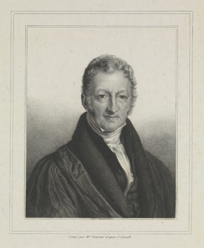 Thomas Robert Malthus. Stipple engraving by Me. Fournier after John Linnell, ca. 1834. Collection: Welcome Images. (CC BY 4.0).