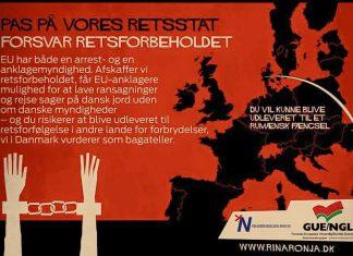 Poster fra Folkebevægelsen mod EU, der er med i GUE/NGL-gruppen i EU paralamentet.