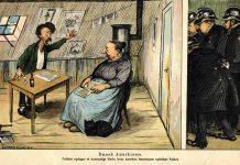 """Anarkisme i Danmark i 1905. Karikaturtegning fra 1905 i Klods Hans. Billedtekst: """"Politiet opdager et hemmeligt Møde, hvor Anarkist Rasmussen ophidser Folket."""" Tegning: Alfred Schmidt (1858-1938), dansk tegner og maler. Public Domain."""