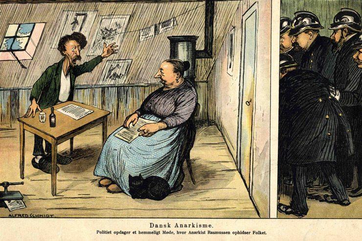 Anarkisme i Danmark i 1905. Karikaturtegning fra 1905 i Klods Hans. Billedtekst: