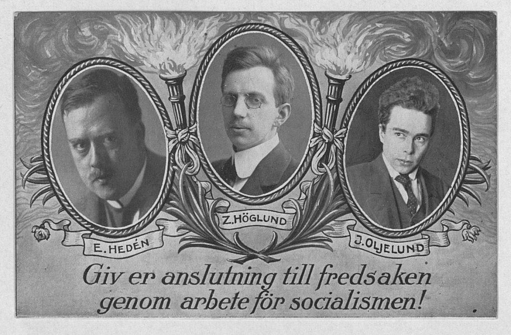 Propagandavykort utgiven av det Socialdemokratiska ungdomsförbundet till stöd för Hedén, Höglund och Oljelund med anledning av förräderiprocessen 1916. Se note 16. Source/Photo: 20 October 2011 av Frank2188. (CC BY-SA 3.0).