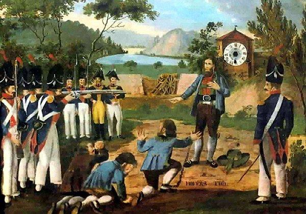 """Næsten samtidigt maleri af Andreas Hofers henrettelse i Mantua 20. februar 1810 af ukendt kunstner. Med inskriptionen """"Hofers tod"""" (Hofers død). Public Domain."""