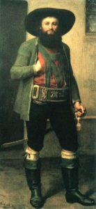 Andreas Hofer. Olie på lærred malet i midten af det 19. århundrede af Franz von Defregger (1835-1921), østrigsk/bayrisk genremaler. Collektion: Tiroler Kaiserjägermuseum, Innsbruck. Public Domain.