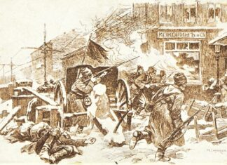 The first days of the revolution. 1917. Postcard. Edition of the Skobela Committee of the Population of the wounded (Petrograd). Drawing by Nikolai Samokish (1860–1944), Russian-Soviet painter. Public Domain.