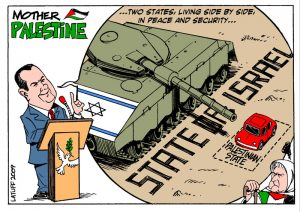 Two States solution, by Latuff. Kilde: Gaza Carnage Archive; Gaza Cartoons. http://haimbresheeth.com/gaza/gaza-carnage-archive/gaza-cartoons/