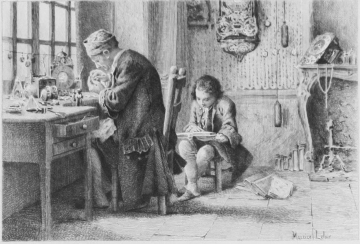 Rousseau læser sammen med faderen. Illustration fra Les Confessions, édition H. Launette & Cie, Paris, 1889. Kilde: http://athena.unige.ch/athena/rousseau/confessions/rousseau_confessions.html Illustrator: Maurice Leloir.