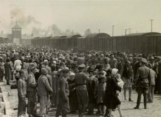 """Selection"" of Hungarian Jews on the ramp at the death camp Auschwitz-II (Birkenau) in Poland during German occupation, May/June 1944. Jews were sent either to work or to the gas chamber. The photograph is part of the collection known as the Auschwitz Album. May or June 1944, Auschwitz-Birkenau, Poland. Source: Yad Vashem. The album was donated to Yad Vashem by Lili Jacob, a survivor, who found it in the Mittelbau-Dora concentration camp in 1945. Author Unknown. Public Domain"