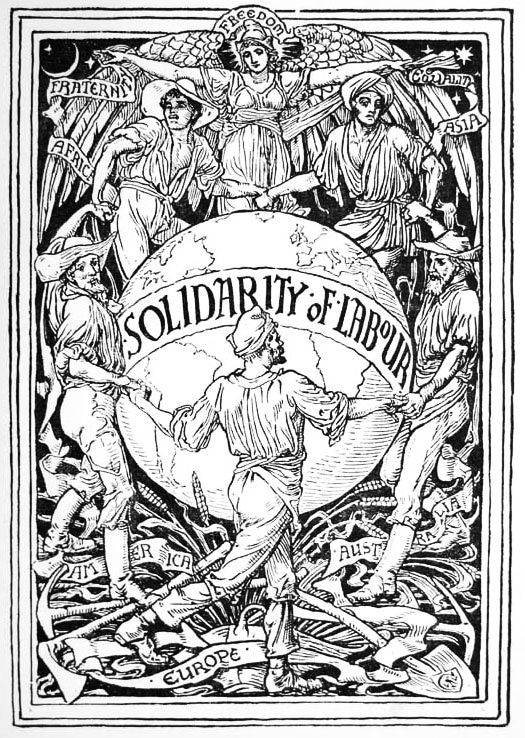 Image created by Walter Crane (1845–1915), British painter and illustrator, to celebrate May Day (1 May), 1889. The image depicts workers from the five populated continents (Africa, Asia, Americas, Australia and Europe) in unity underneath an angel representing freedom, fraternity and equality. Public Domain.