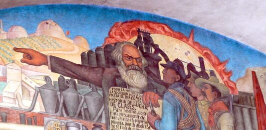 Mexico City - Palacio Nacional. Mural by Diego Rivera showing the History of Mexico: Detail showing Karl Marx. Photo: Taken 09.04.2008 by Wolfgang Sauber. (CC BY-SA 3.0).