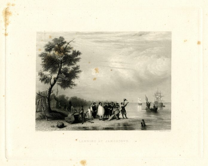 The English landing to settle at Jamestown, Virginia, with one party on shore greeting the next boatload that is approaching, 1607. Just a few years later the african slaves arrivet i 1619 with the britis ship
