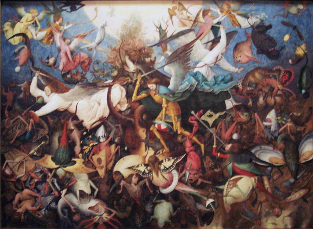 """""""The Fall of the Rebel Angels"""", Michael the Archangel. Oil on oak wood painted in 1562 by Pieter Brueghel the Elder (1526/1530–1569), Southern Netherlandish painter, draughtsman and printmaker. Collection: Royal Museums of Fine Arts of Belgium, Brussels. Source/Photographer: anagoria. (CC BY 3.0)."""
