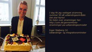 Mere lort end lagkage! Minister Inger Støjberg fejrer stramning nr. 50 på udlændingeområdet. Regeringen forsøger igen at trostugte andre religioner i Danmark.