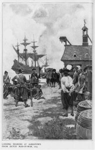 """Illustration titled """"Landing Negroes at Jamestown from Dutch man-of-war, 1619"""". Howard Pyle (1853–1911), American writer, illustrator, children's writer, university teacher and painter. The illustration was published in Harper's Monthly Mag., v. 102, 1901 Jan., p. 172. Collection: Library of Congres, Washington, D.C., USA. Public Domain."""