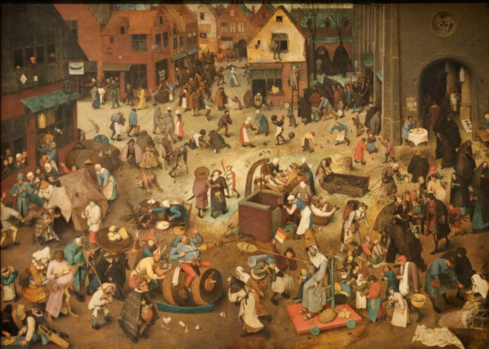 The battle between carnival and fasting. Scene from series of the so-called picture arch-like paintings. Oil on oak wood painted 1559 by Pieter Brueghel the Elder (1526/1530–1569), Southern Netherlandish painter, draughtsman and printmaker. Collection: Kunsthistorisches Museum, Vienna, Austria. Public Domain.