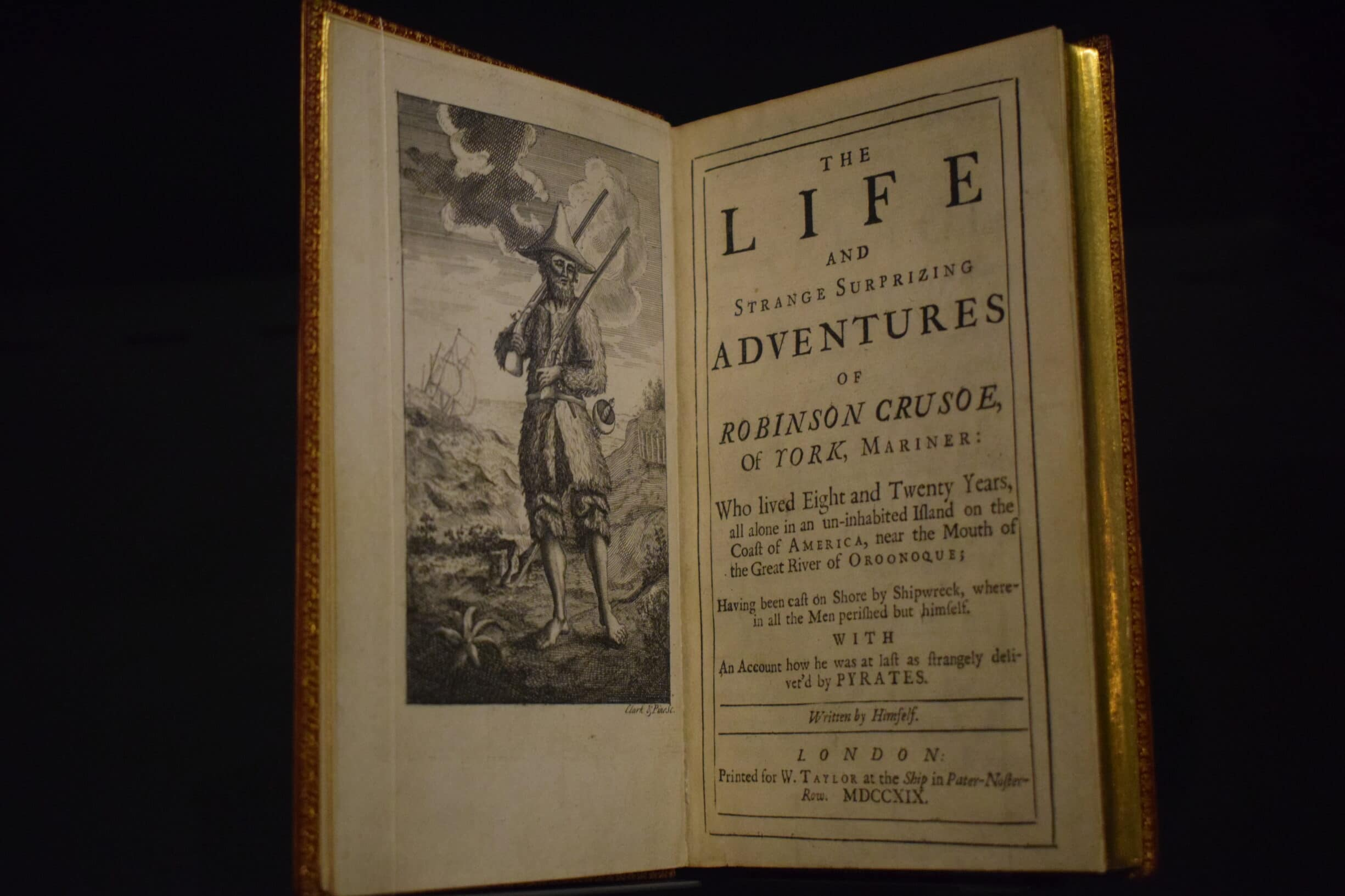 «The Life and Strange Surprizing Adventures of Robinson Crusoe» by Daniel Defoe (1660-1731). London, 1719, original edition. Foundation Martin Bodmer. Photo: Deniev Dagun. (CC BY 4.0).