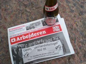 Forsiden af sidste trykte nummer af dagbladet 'Arbejderen', 1. maj 2019. Foto: Jeppe Rohde.