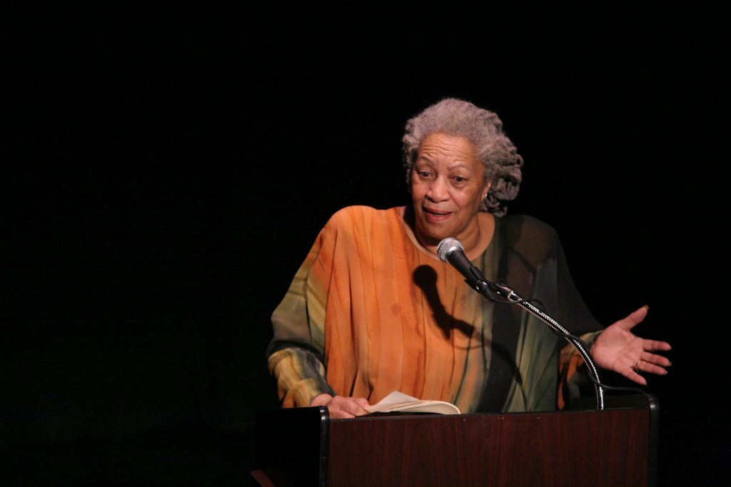 """Toni Morrison speaking at """"A Tribute to Chinua Achebe - 50 Years Anniversary of 'Things Fall Apart'"""". The Town Hall, New York City, February 26th, 2008. Date: 18 December 2008. Source Toni_Morrison_2008.jpg. Photo: Angela Radulescu. (CC BY-SA 2.0)"""