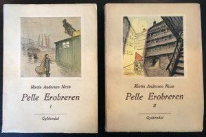 Pelle Erobreren udkom med 1. bind i 1906. Denne udgave er fra Gyldendal, 1949. Omslagstegning af Anton Hansen.