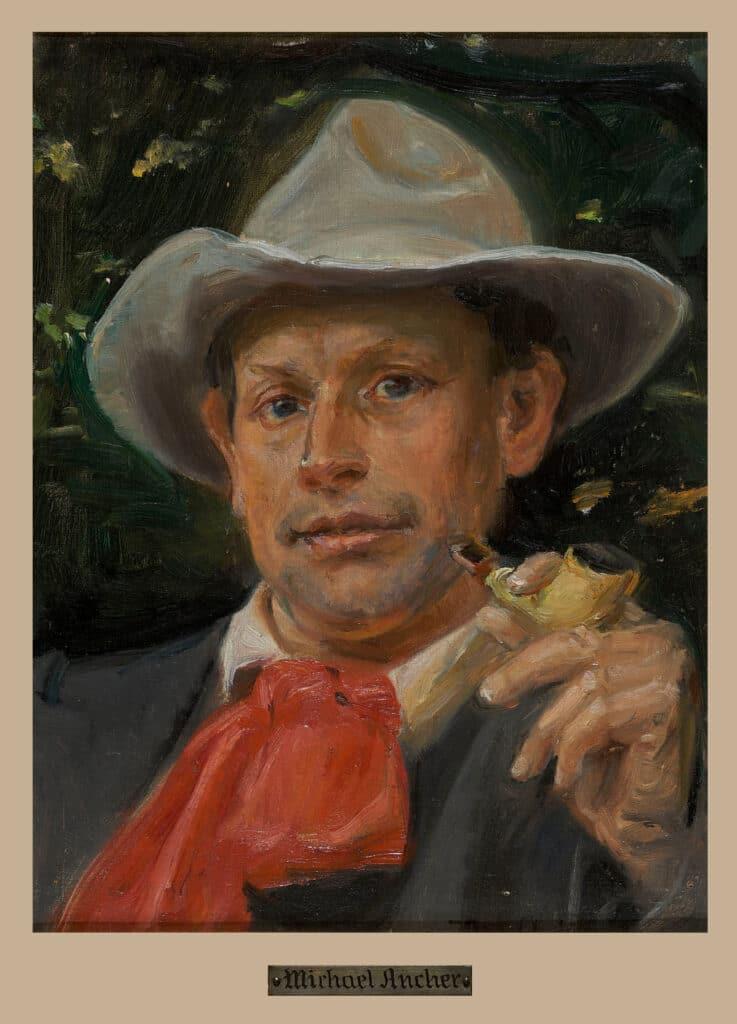Portræt af Martin Andersen Nexø. Olie på lærred malet ca. 1911 af Michael Peter Ancher (1849–1927), dansk maler. Public Domain. Kollektion: Bornholms Kunstmuseum.