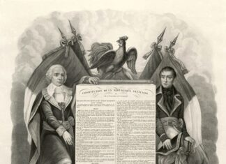 Bill of Rights (Declaration of the rights and duties of the Man and of the Citizen) of the French Constitution of 1795, which founded the Directory. Collection: Bibliothèque nationale de France. Engraving: Robert Bénard (1734-1785?), graveur en lettres. Upload, stitch and restoration by Jebulon. Public Domain.