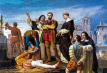 Execution of the community members of Castilla (detail). This work represents the execution of the community members Juan de Padilla, Juan Bravo and Francisco Maldonado, which took place in Villalar on April 24, 1521, and was acquired by the Spanish State for the amount of 80,000 reales, and it is currently exhibited in the Spanish Congress of Deputies. Oil on canvas painted in 1860 by Antonio Gisbert (1834–1901), Spanish painter. Collection: Congreso de los Diputados de España, Madrid. Public Domain.