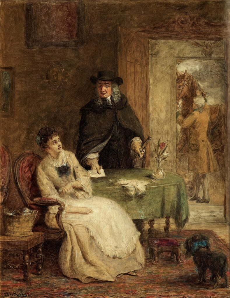 Jonathan Swift and Vanessa [a lover]. Oil on canvas painted 1881 by William Powell Frith (1819–1909), English painter. Photo of original painting: Bukowskis, Stockholm, 12 Jun 2012. Public Domain.