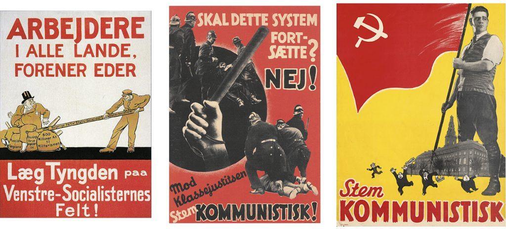 DKP-valgplakater fra 1920, 1932 og 1935. DKP stillede i 1920 op med navnet Venstre-Socialistisk Parti. Samling: Arbejdermuseet.