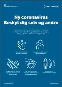 Oplysningsark om Coronavirus fra Sundhedsstyrelsen udgivet i marts 2020.